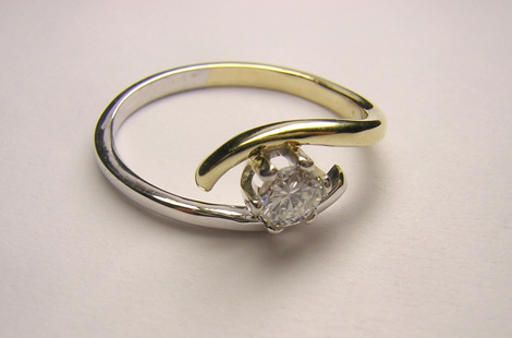 Gold and diamond engagment ring