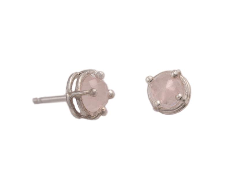 Rose quartz silver studs