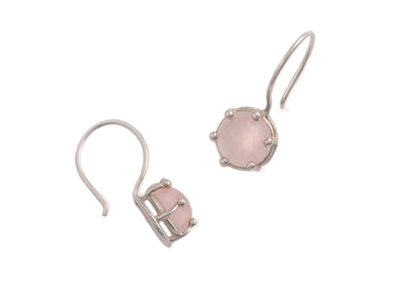 Silver earrings with rosequartz